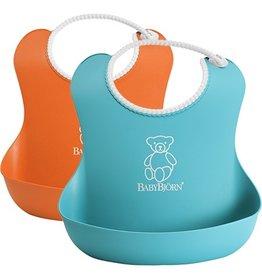 Baby Bjorn Bjorn Soft Bib 2 Pack - Orange/Turquoise