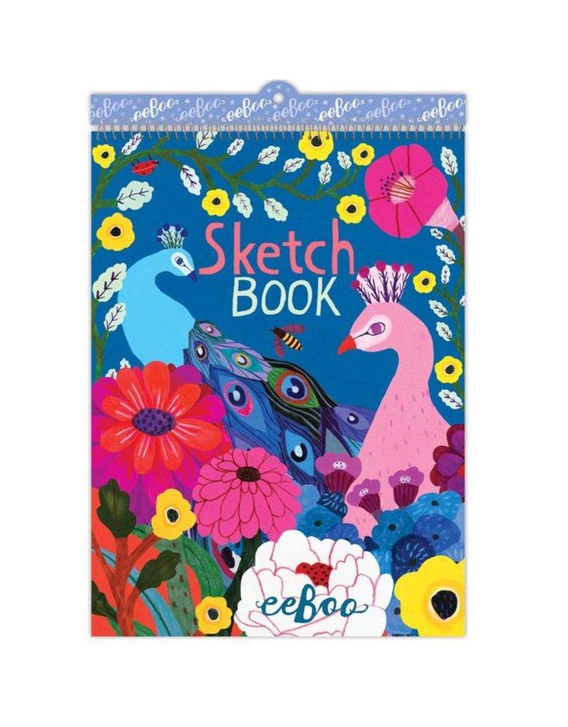 Eeboo Eeboo Peacock & Flowers Sketchbook