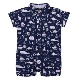 Hatley Hatley Baby Striped Shortall-Sea Ocean