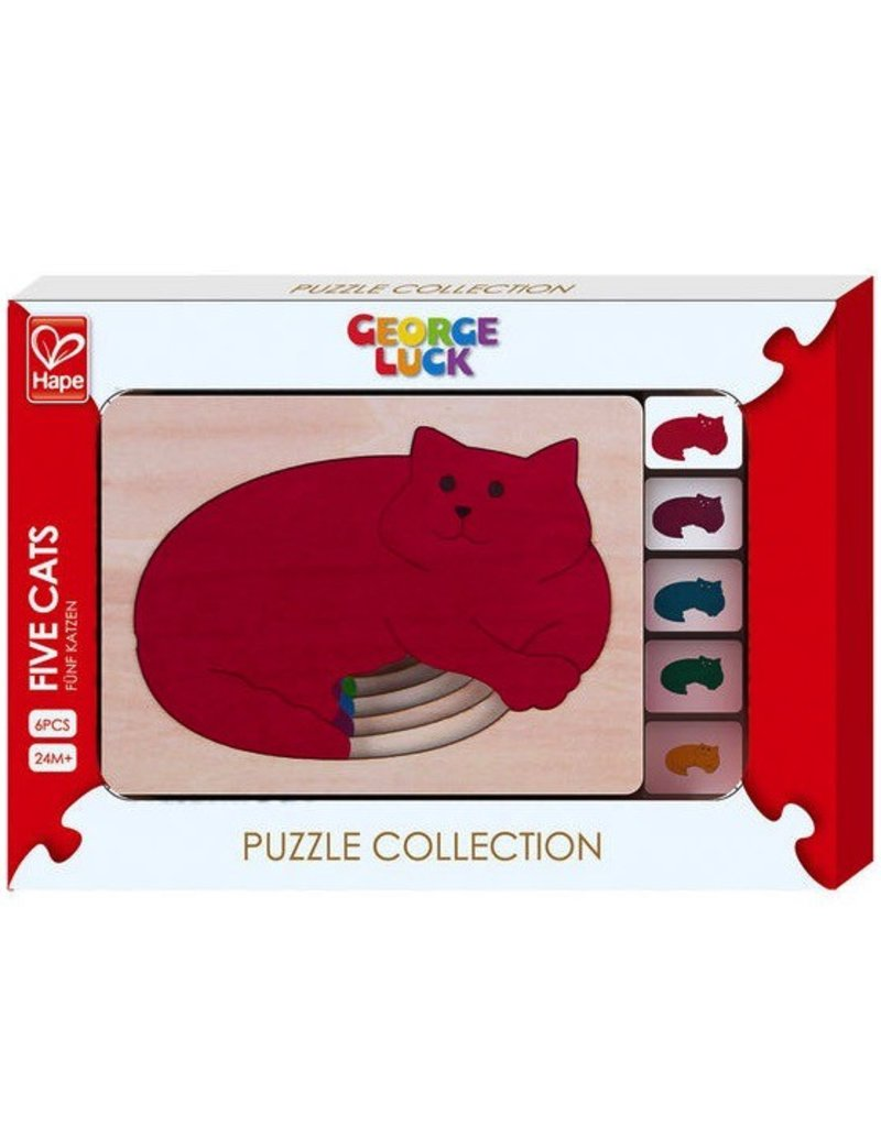 Hape Toys George Luck Five Cats Layer Puzzle