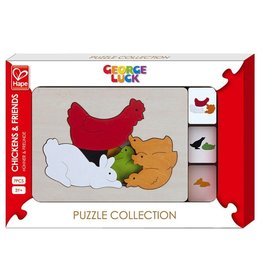 Hape Toys George Luck Chickens & Friends Layer Puzzle