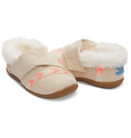 Metallic Burlap Tiny Toms House Slippers