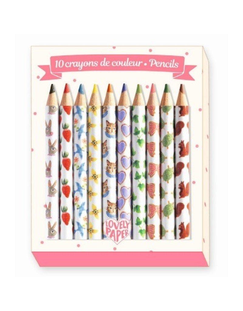 Djeco Djeco 10 Mini Coloured Pencils - Aiko
