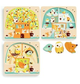 Djeco Djeco 3 Layers Puzzle - Chez-Nut - 12pc