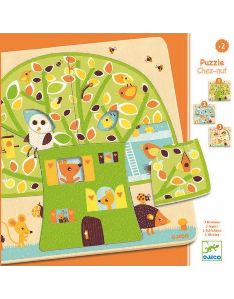 Djeco Djeco 3 Layers Puzzle - Chez-Nut - 12pc