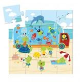 Djeco Djeco Silhouette Puzzle - The Aquarium - 16pc