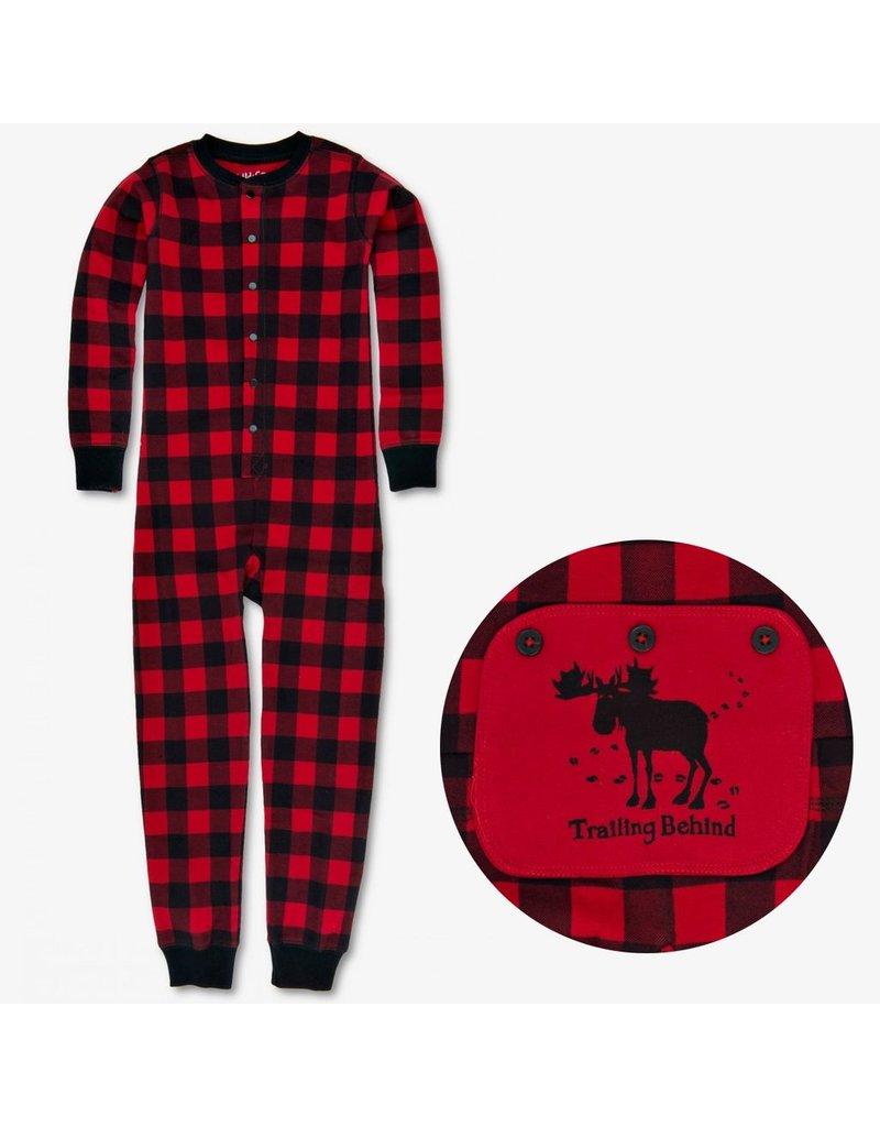 "Hatley ""Trailing Behind"" Buffalo Plaid Kids Union Suit"