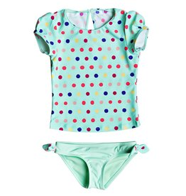 Roxy Roxy Rainbow Dots Cap Sleeve Rashguard Set