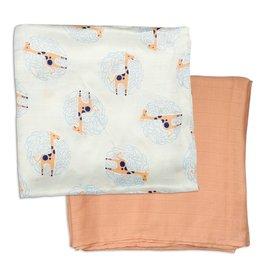 Silkberry Bamboo Muslin Swaddle Blanket Gift Set Giraffe