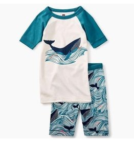 Tea Collection Wavey Whale SS Pajamas