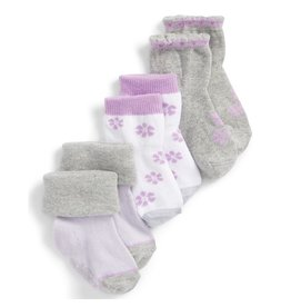 Girl's Sock 3pk - Purple Flowers