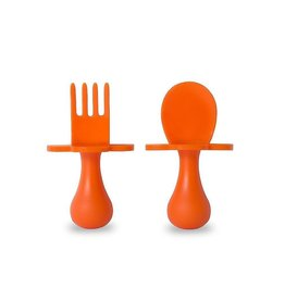 Fork & Spoon Utensil Set - Orange