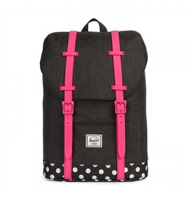 Herschel Youth Retreat Black Crosshatch/Pink