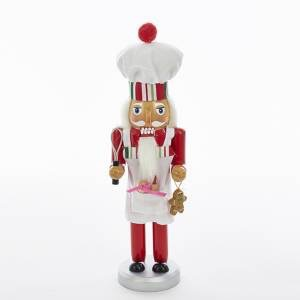 KURT S. ADLER C5844 STRIPED HAT WOODED CHEF GINGERBREAD BAKER NUTCRACKER