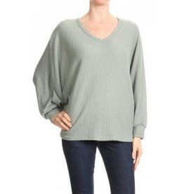 FREE LOADER FT-5742 BRUSHED WAFFLE V NECK DOLMAN SWEATER