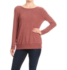 FREE LOADER FT-5897 BRUSHED JERSEY OPEN DRAPE BACK TIE NECK SWEATER