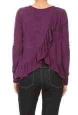 FREE LOADER FT-5917 BRUSHED JERSEY RUFFLE BACK CROSS OVER SWEATER