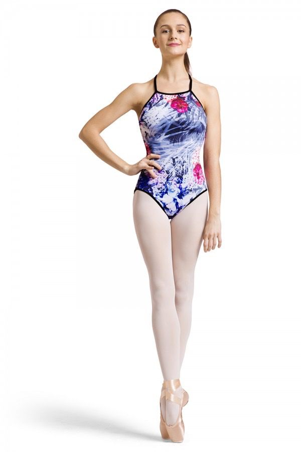 BLOCH & MIRELLA L1827P ROSE FOLIAGE REVERSIBLE HIGH FRONT ACTION RACER BACK CAMISOLE LEOTARD
