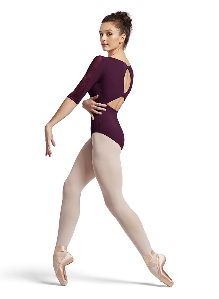 BLOCH & MIRELLA L8616 OPELLY FLORAL JACQUARD MESH 3/4 BOW SLEEVE LEOTARD