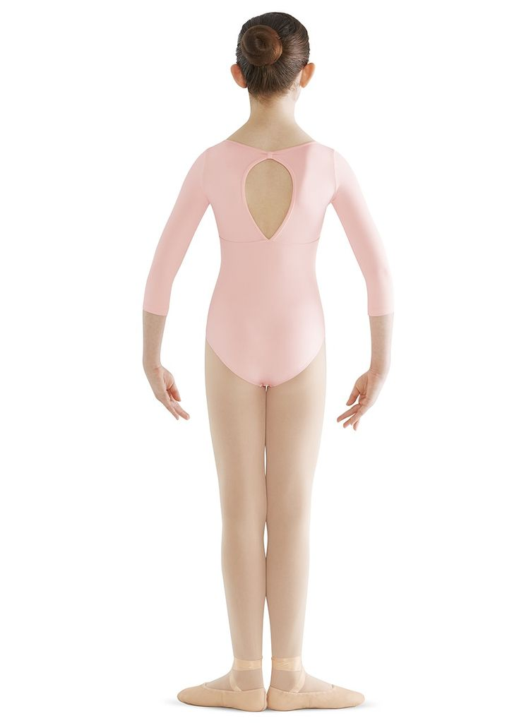 BLOCH & MIRELLA CL9506 CINTHY EMBROIDERY ANGLAISE BUST 3/4 SLEEVE KEYHOLE BACK LEOTARD