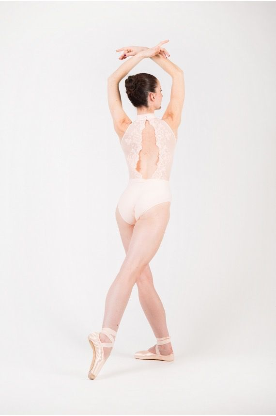 BALLET ROSA AMELIE SCALLOP LACE PINCH BACK MOCK TURTLE NECK TANK LEOTARD