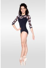 SO DANCA RDE1729 GARDENIA FLORAL PRINT MESH LONG SLEEVE LEOTARD