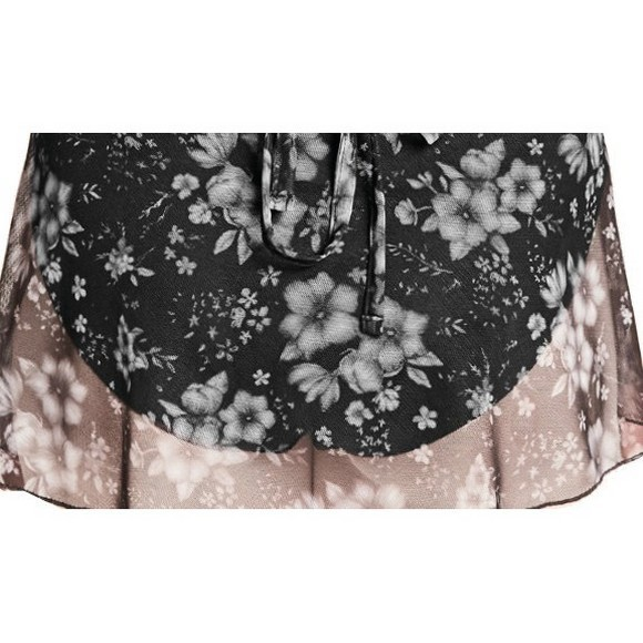 BLOCH & MIRELLA MS105 ENCHANTED GARDENS FLORAL PRINTED MESH WRAP SKIRT