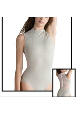 MOTIONWEAR 2877 DEVON (inspired by Nacho Duato) HEATHERED ZIPPER MESH BACK HIGH NECK PRINCESS SEAM TANK LEOTARD