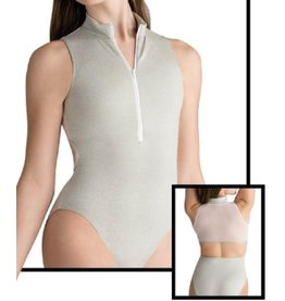 MOTIONWEAR 2099 DEVON (inspired by Nacho Duato) HEATHERED ZIP FRONT MOCK TURTLE MESH BACK LEOTARD