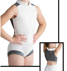 MOTIONWEAR 2934A BOYCUT BANDED LEG ZIP FRONT MOCK TURTLENECK TANK LEOTARD WITH MESH OPEN BACK