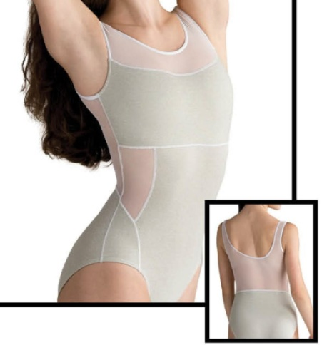 MOTIONWEAR 2002 DEVON (inspired by Nacho Duato) HEATHERED LINEAR ATHLETIC MESH BACK TANK LEOTARD
