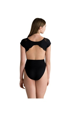 MOTIONWEAR 4492 MARIE (inspired by Christopher Wheeldon) LACE LINED CAP SLEEVE PEEK-A-BOO CAP SLEEVE LEOTARD