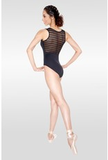 SO DANCA RDE1722 VALENTINA STRIPED MESH V FRONT TANK LEOTARD