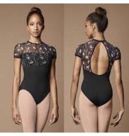 BLOCH & MIRELLA M5064LM WILD BLOOM PRINTED MESH SWEETHEART OPEN BACK CAP SLEEVE LEOTARD