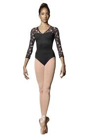 BLOCH & MIRELLA M1011LM V NECK WILD BLOOM PRINTED MESH OPEN BACK 3/4 SLEEVE LEOTARD