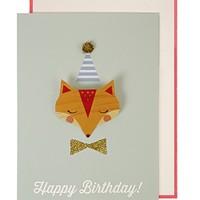 MERI MERI FOX BADGE BIRTHDAY CARD