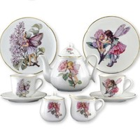 REUTTER PORCELAIN FLOWER FAIRIES LARGE TEA SET IN BOX