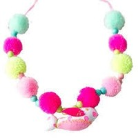 EVERBLOOM EVERBLOOM PINK DOTS BIRDIE & POMPOMS NECKLACE'