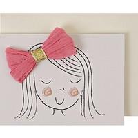 MERI MERI GIRL WITH PINK BOW GIFT ENCLOSURE