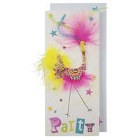 MERI MERI PATTERNED BIRD WITH FEATHERS PARTY CARD