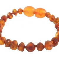 MOMMA GOOSE PRODUCTS BAROQUE UNPOLISHED COGNAC AMBER BABY BRACELET