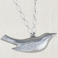"""SWOON MAMA BIRD NECKLACE<br /> 17"""" STERLING SILVER NECKLACE"""