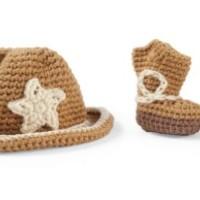 MUD PIE CROCHET COWBOY HAT & BOOTS SET