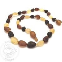 MOMMA GOOSE PRODUCTS AMBER UNPOLISHED OLIVE MULTI NECKLACE SM