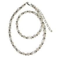 """CHERISHED MOMENTS, LLC STERLING SILVER NECKLACE WITH WHITE PEARLS & CRYSTALS 12-14"""""""