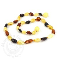 MOMMA GOOSE PRODUCTS BABY AMBER TEETHING NECKLACE-OLIVE