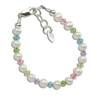CHERISHED MOMENTS, LLC STERLING SILVER PEARL BRACELET WITH MULTI CRYSTALS