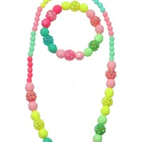 CREATIVE EDUCATION OF CANADA VIVIDLY VIBRANT NECKLACE AND BRACELET SET