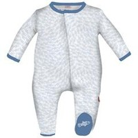 MAGNIFICENT BABY MAGNIFICENT BABY BLUE SCHOOL FISH EMBROIDERED FOOTIE