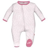 MAGNIFICENT BABY MAGNIFICENT BABY PINK SCHOOL FISH EMBROIDERED FOOTIE